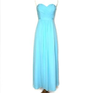 B2 Jasmine Strapless Ruched Gown Prom Dress Blue